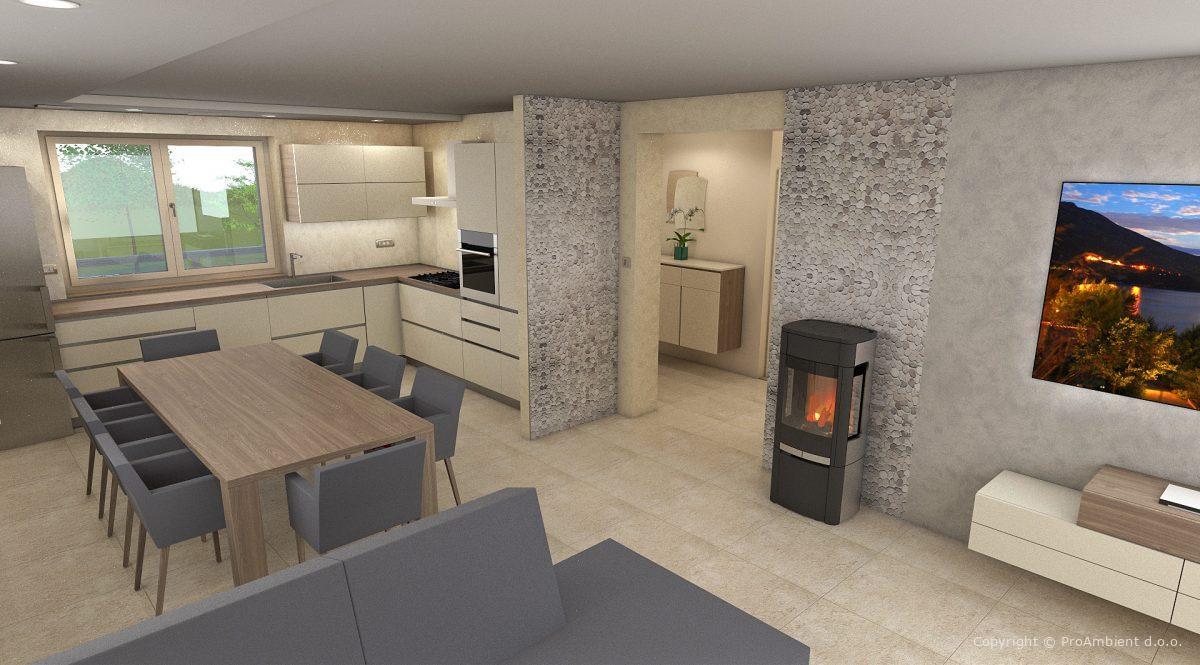 3d Vizualizacija Notranje Opreme Kuhinja