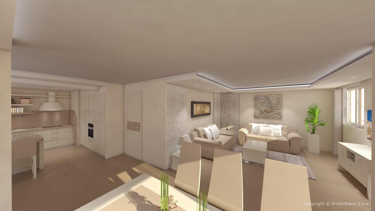 3D vizualizacija notranje opreme hiša Branik