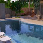 3D izris hiše z Bazenom