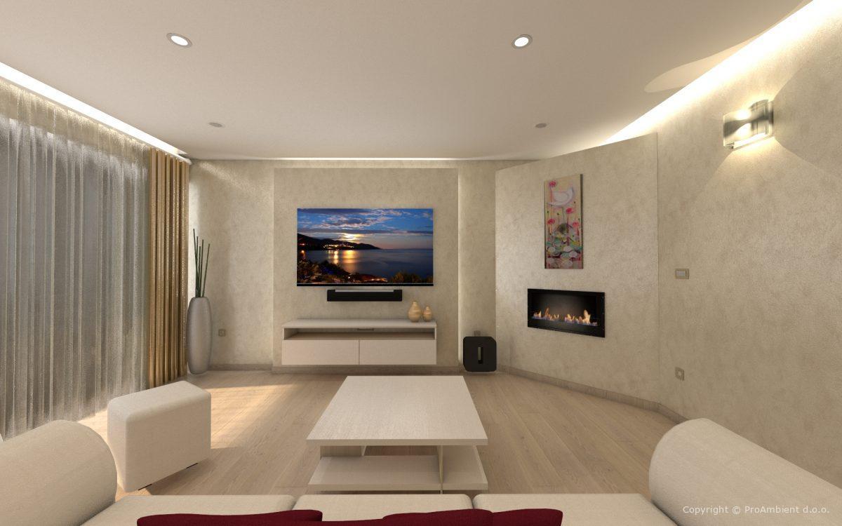 Projektiranje Razsvetljave Dnevna Soba hladna svetloba