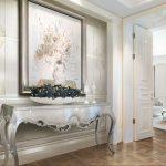 Baročen stil prostora s svetlo keramiko