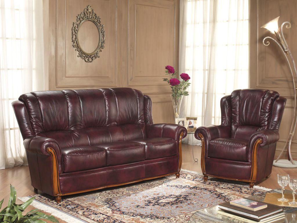 Rustične stilne sedežne - les usnje QM16