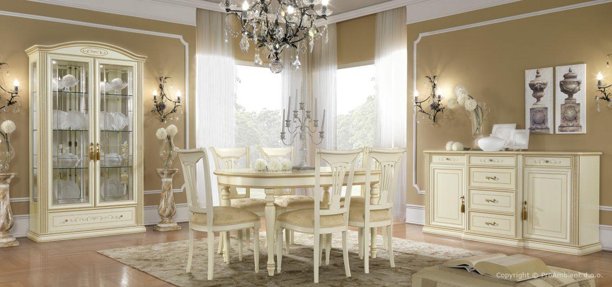 Stilna Miza Antična Bela Zlata Ovalna